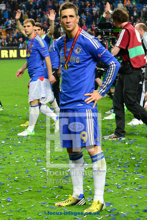 Picture by Ian Wadkins/Focus Images Ltd +44 7877 568959.15/05/2013.Fernando Torres of Chelsea celebrates after his team have won the UEFA Europa League Final at Amsterdam Arena, Amsterdam.