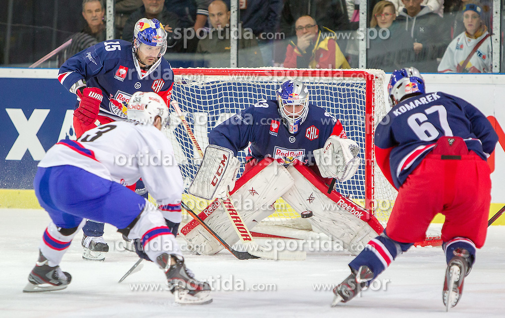 07.10.2014, Red Bull Arena, Salzburg, AUT, CHL, EC Red Bull Salzburg vs Kloten Flyers, Gruppe I, im Bild v.l.: Manuel Latusa (EC Red Bull Salzburg), Gian Andrea Randegger (Kloten Flyers), Luka Gracnar (EC Red Bull Salzburg), Konstantin Komarek (EC Red Bull Salzburg) // v.l.: Manuel Latusa (EC Red Bull Salzburg), Gian Andrea Randegger (Kloten Flyers), Luka Gracnar (EC Red Bull Salzburg), Konstantin Komarek (EC Red Bull Salzburg) during the Champions Hockey League Group I match between EC Red Bull Salzburg and Kloten Flyers at the Red Bull Arena in Salzburg, Austria on 2014/10/07. EXPA Pictures © 2014, PhotoCredit: EXPA/ JFK