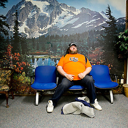 Kyle Green | For The New York Times<br /> Wednesday January 29, 2014 Darin Hill is pictured inside of the Four Rivers Health Clinic in Ontario, Oregon. Hill, who is from Willowcreek, Oregon, has been paid minimum wage for the last 19 years. &quot;You have to have a very short list of wants&quot;, Hill says about trying to survive on the minimum wage, which is $9.10 per hour in Oregon.