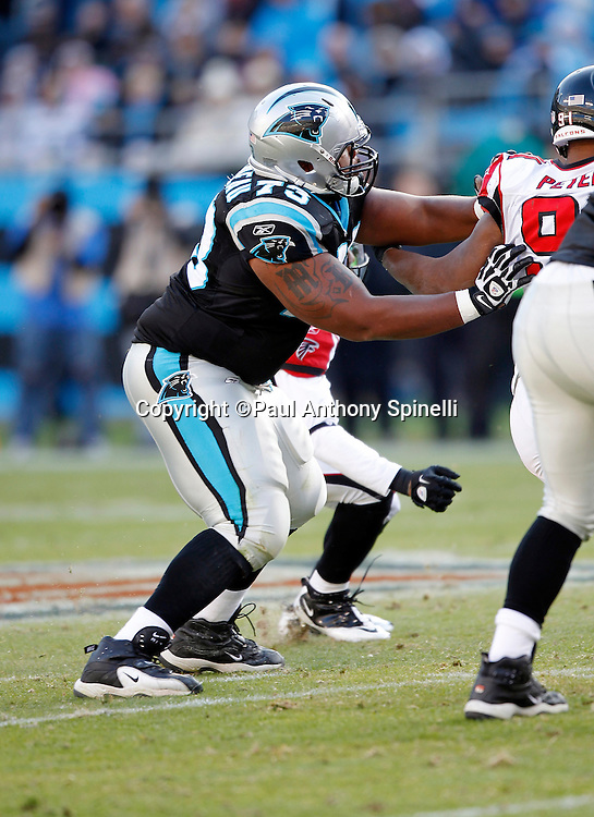 Carolina Panthers guard Mackenzy Bernadeau (73) blocks during the NFL week 14 football game against the Atlanta Falcons on Sunday, December 11, 2011 in Charlotte, North Carolina. The Falcons won the game 31-23. ©Paul Anthony Spinelli