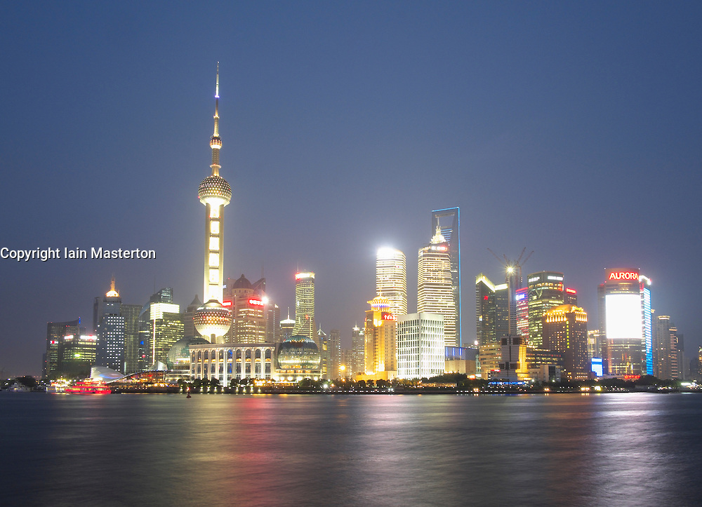 View at night of cityscape of Pudong district of Shanghai in China