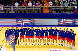 Iceland National team listening to the national athemn during handball match between Iceland and Slovenia in  3rd Round of Preliminary Round of 10th EHF European Handball Championship Serbia 2012, on January 20, 2012 in Millennium Center, Vrsac, Serbia.  (Photo By Vid Ponikvar / Sportida.com)
