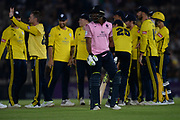 Dwayne Bravo of Middlesex walks off as he is dismissed during the Vitality T20 Blast South Group match between Hampshire County Cricket Club and Middlesex County Cricket Club at the Ageas Bowl, Southampton, United Kingdom on 20 July 2018. Picture by Dave Vokes.
