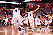 06 APR 2015:  Forward Amile Jefferson (21) and Guard Grayson Allen (3) of Duke University rush to embrace teammates following their victory over the University of Wisconsin during the championship game at the 2015 NCAA Men's DI Basketball Final Four in Indianapolis, IN. Duke defeated Wisconsin 68-63 to win the national title. Brett Wilhelm/NCAA Photos