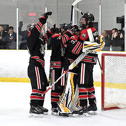 TORONTO, ON  - APR 10,  2018: Ontario Junior Hockey League, South West Conference Championship Series. Game seven of the best of seven series between Georgetown Raiders and the Toronto Patriots. Georgetown Raiders celebrate winning the South West Conference.<br /> (Photo by Andy Corneau / OJHL Images)
