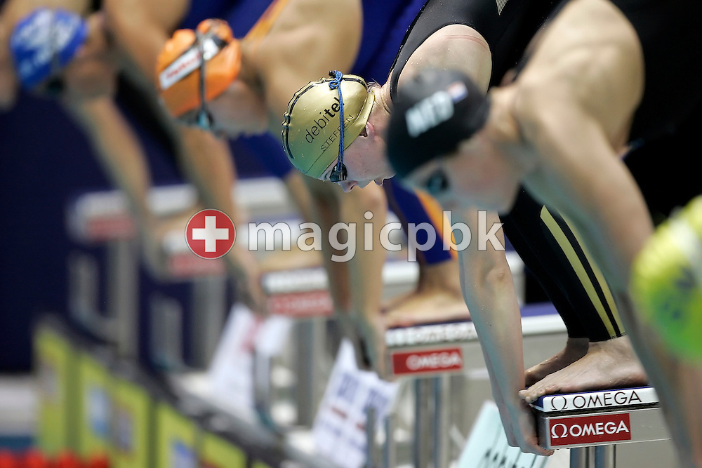 Later second placed Britta STEFFEN of Germany is pictured before competing in the women's 100m freestyle final in the Schwimm- und Sprunghalle Europa Sportpark at the Fina Swimming World Cup in Berlin, Germany, Sunday 18 November 2007. (Photo by Patrick B. Kraemer / MAGICPBK)