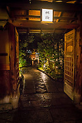 At night, Gion Ryokan and Teahouses open their doors to the inner gardens in order to entertain their guests
