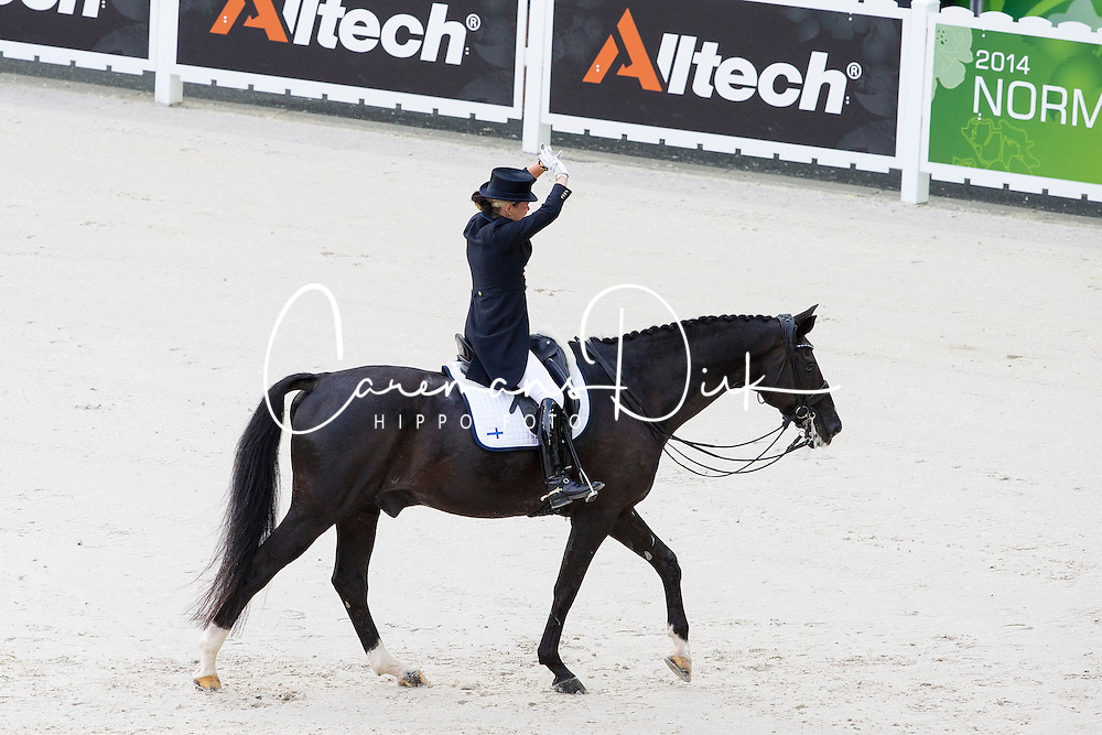 Mikaela Lindh, (FIN), Skovlunds Mas Guapo - Grand Prix Team Competition Dressage - Alltech FEI World Equestrian Games&trade; 2014 - Normandy, France.<br /> &copy; Hippo Foto Team - Leanjo de Koster<br /> 25/06/14