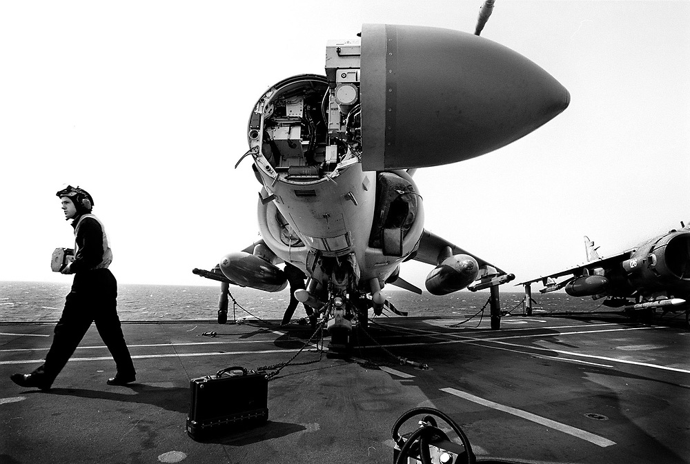"The nose of a Sea Harrier - open for essential maintenance -  exposes the British designed Blue Vixen radar - nick named ""look down, shoot down"" - it is the new partner to the American AMRAAM ( advanced medium range anti aircraft missile) also known as ""fire and forget."" 19.2.99"