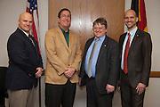 Pictured left to right, Dr. B. David Ridpath, Jim Kahler of Ohio University and Herbert Woratschek and Tim Strobel of University of Bayreuth, on Monday March 17, 2014.  Photo by Ohio University / Jonathan Adams
