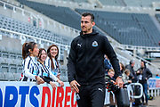 Martin Dubravka (#12) of Newcastle United arrives ahead of the Premier League match between Newcastle United and Liverpool at St. James's Park, Newcastle, England on 4 May 2019.