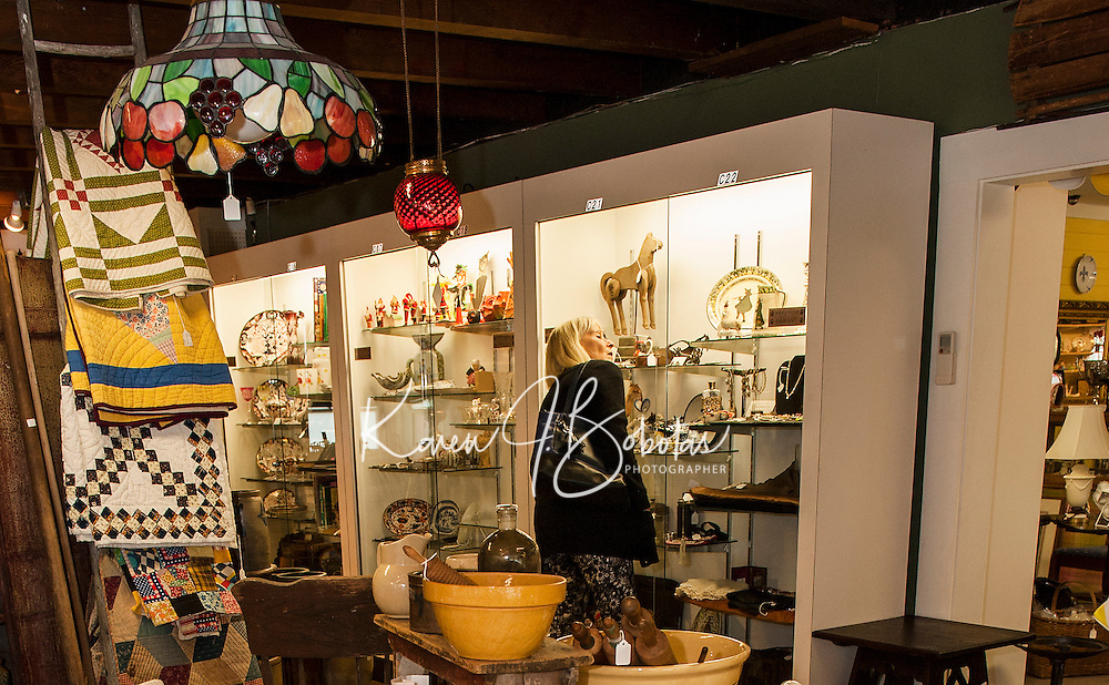 Suzy Beech browses through Paws Antiques in Meredith on Thursday afternoon.  (Karen Bobotas/for the Laconia Daily Sun)