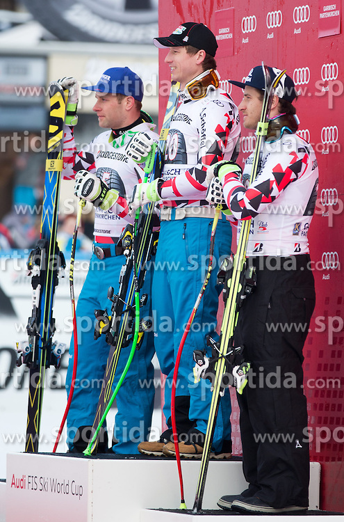 28.02.2015, Kandahar, Garmisch Partenkirchen, GER, FIS Weltcup Ski Alpin, Abfahrt, Herren, Siegerpräsentation, im Bild v.l. Romed Baumann (AUT, 2. Platz), Hannes Reichelt (AUT, 1. Platz), Matthias Mayer (AUT, 3. Platz) // second placed Romed Baumann of Austria ( L ), first placed Hannes Reichelt of Austria ( C ) and third placed Matthias Mayer of Austria ( R ) during the winner presentation for the men's Downhill of the FIS Ski Alpine World Cup at the Kandahar course, Garmisch Partenkirchen, Germany on 2015/02/28. EXPA Pictures © 2015, PhotoCredit: EXPA/ Johann Groder
