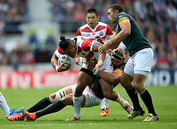 Male Sa'u of Japan is tackled by Victor Matfield of South Africa  - Mandatory byline: Patrick Khachfe/JMP - 07966 386802 - 19/09/2015 - RUGBY UNION - Brighton Community Stadium - Brighton, England - South Africa v Japan - Rugby World Cup 2015 Pool B.