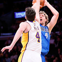 12 April 2014: Dallas Mavericks forward Dirk Nowitzki (41) takes a jump shot over Los Angeles Lakers forward Ryan Kelly (4) during the Dallas Mavericks 120-106 victory over the Los Angeles Lakers, at the Staples Center, Los Angeles, California, USA.