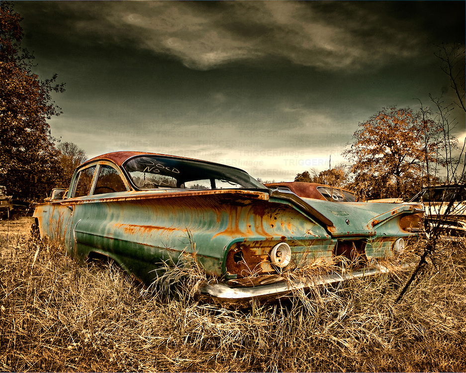 A classic abandoned cruiser found in a scrap yard in Arkansas