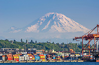 Seattle shipping industry and Mount Rainer from Puget Sound, Seattle, Washington.