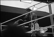 Ali vs Lewis Fight, Croke Park,Dublin..1972..19.07.1972..07.19.1972..19th July 1972..As part of his built up for a World Championship attempt against the current champion, 'Smokin' Joe Frazier,Muhammad Ali fought Al 'Blue' Lewis at Croke Park,Dublin,Ireland. Muhammad Ali won the fight with a TKO when the fight was stopped in the eleventh round...Picture shows Lewis taking punch after punch While Ali has him pinned against the ropes.