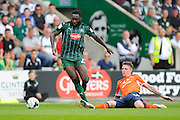 Plymouth Argyle's David Ijaha (22)  and Luton Town defender Glen Rea (16) during the EFL Sky Bet League 2 match between Plymouth Argyle and Luton Town at Home Park, Plymouth, England on 6 August 2016. Photo by Graham Hunt.