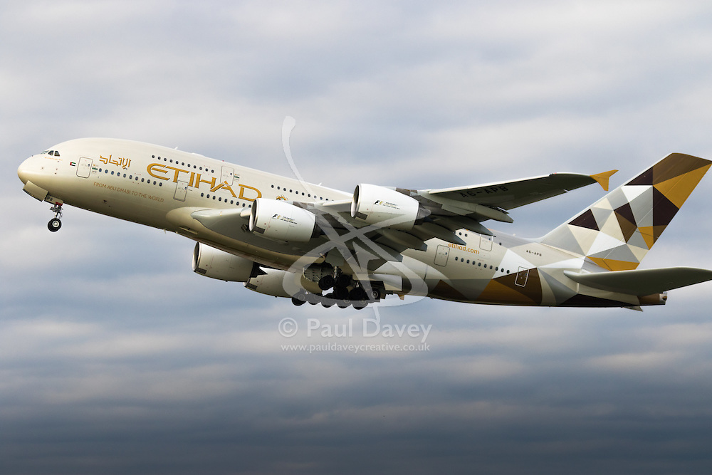 An Etihad Airbus A380 takes off from London's Heathrow Airport (LHR / EGLL).