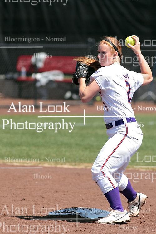 19 April 2014:  Kristen O'Conner during an NCAA women's softball game between the Evansville Purple Aces and the Illinois State Redbirds on Marian Kneer Field in Normal IL