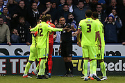 The referee disallowed Sheffield Wednesday striker Fernando Forestieri (45) goal during the Sky Bet Championship Play Off First Leg match between Sheffield Wednesday and Brighton and Hove Albion at Hillsborough, Sheffield, England on 13 May 2016.