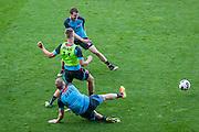 ALKMAAR - 24-08-2016, training AZ, AFAS Stadion, AZ speler Rens van Eijden, AZ speler Markus Henriksen, AZ speler Thomas Ouwejan