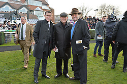 NEWBURY, ENGLAND 26TH NOVEMBER 2016: Left to right, Tony McCoy, JP McManus and Nicky Henderson at Hennessy Gold Cup meeting Newbury racecourse Newbury England. 26th November 2016. Photo by Dominic O'Neill
