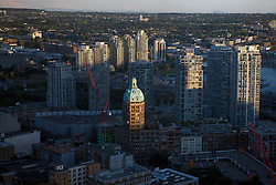 Aerial view of downtown Vancouver late afternoon, British Columbia, Canada