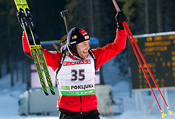Winner Daniel Mesotitsch of Austria celebrates at flower ceremony during the Men 20 km Individual of the e.on IBU Biathlon World Cup on Thursday, December 16, 2010 in Pokljuka, Slovenia. The fourth e.on IBU World Cup stage is taking place in Rudno Polje - Pokljuka, Slovenia until Sunday December 19, 2010.  (Photo By Vid Ponikvar / Sportida.com)