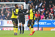 Burton Albion's Darren Bent congratulates Burton Albion's Marvin Sordell after he scores a goal during the EFL Sky Bet Championship match between Burton Albion and Middlesbrough at the Pirelli Stadium, Burton upon Trent, England on 2 April 2018. Picture by John Potts.