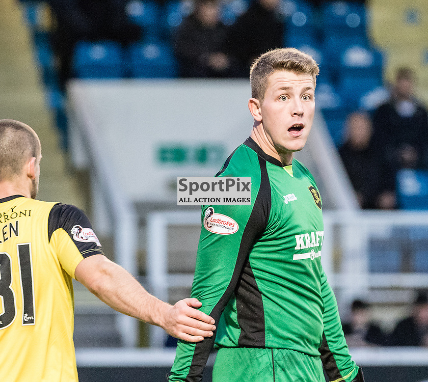 Livingston's 'keeper Marc McCallum can't believe that Morton have been awarded a  corner after making a save during the Greenock Morton FC V Livingston FC Ladbrokes Scottish Championship game played at Cappielow Park, Greenock on 7th November 2015; (c) BERNIE CLARK | SportPix.org.uk
