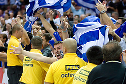 Fans of Greece celebrate during the EuroBasket 2009 Quaterfinals match between Turkey and Greece, on September 18, 2009 in Arena Spodek, Katowice, Poland. Greece won 76:74 after overtime.  (Photo by Vid Ponikvar / Sportida)