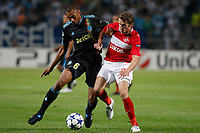 Fotball<br /> Frankrike<br /> Foto: Dppi/Digitalsport<br /> NORWAY ONLY<br /> <br /> FOOTBALL - CHAMPIONS LEAGUE 2010/2011 - GROUP STAGE - GROUP F - OLYMPIQUE MARSEILLE v SPARTAK MOSKVA - 15/09/2010<br /> <br /> EDOUARD CISSE (OM) / DMITRI KOMBAROV (MOS)