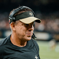 Sep 16, 2018; New Orleans, LA, USA; New Orleans Saints head coach Sean Payton against the Cleveland Browns during the first quarter of a game at the Mercedes-Benz Superdome. Mandatory Credit: Derick E. Hingle-USA TODAY Sports