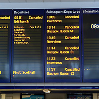 Snow and Ice Disrupt Rail Services in Perth.....03.12.10<br /> Signs advising passengers of the cancelled services. All trains have been cancelled due to the severe weather that has hit Perthshire and surrounding area. <br /> Picture by Graeme Hart.<br /> Copyright Perthshire Picture Agency<br /> Tel: 01738 623350  Mobile: 07990 594431