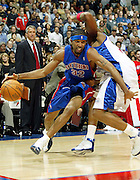 LOS ANGELES - NOVEMBER 8:  Richard Hamilton #32 of the Detroit Pistons drives to the hoop against the Los Angeles Clippers at the Staples Center on November 8, 2004 in Los Angeles, California. NOTE TO USER: User expressly acknowledges and agrees that, by downloading and/or using this photograph, User is consenting to the terms and conditions of Getty Images License Agreement. Mandatory Copyright Notice: Copyright 2004 NBAE  (Photo by Jeffrey Bottari/NBAE via Getty Images)