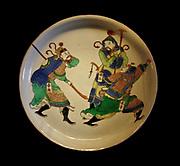 Dish with figures from the novel Shuihu zhuan (The Water Margin), porcelain with overglaze famille verte enamels, Jingdeshen kilns, Jiangxi province, 1680-1720.