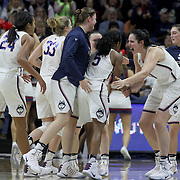 STORRS, CONNECTICUT- NOVEMBER 17: UConn players congratulate Crystal Dangerfield #5 of the UConn Huskies as the team return to the bench for a timeout during the UConn Huskies Vs Baylor Bears NCAA Women's Basketball game at Gampel Pavilion, on November 17th, 2016 in Storrs, Connecticut. (Photo by Tim Clayton/Corbis via Getty Images)