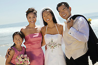 Bride and Groom with bridesmaid and sister (portrait)