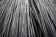 Color film photograph. Detail of steel construction rods in Da Hoi steel production craft village, Hanoi outskirts, Vietnam, Southeast Asia