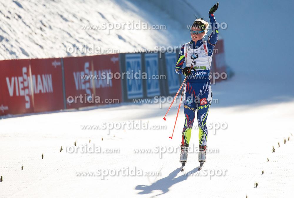 Habert Dorin Marie (FRA) at finish line during Women 10 km Pursuit at day 3 of IBU Biathlon World Cup 2015/16 Pokljuka, on December 19, 2015 in Rudno polje, Pokljuka, Slovenia. Photo by Vid Ponikvar / Sportida