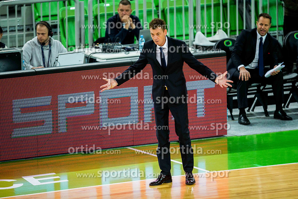 Gasper Okorn, coach of Petrol Olimpija  during basketball match between KK Petrol Olimpija Ljubljana and Umana Reyer Venezia (ITA) in Round #5 of FIBA Basketball Champions League 2017/18, on November 7, 2017 in Arena Stozice, Ljubljana, Slovenia. Photo by Vid Ponikvar / Sportida