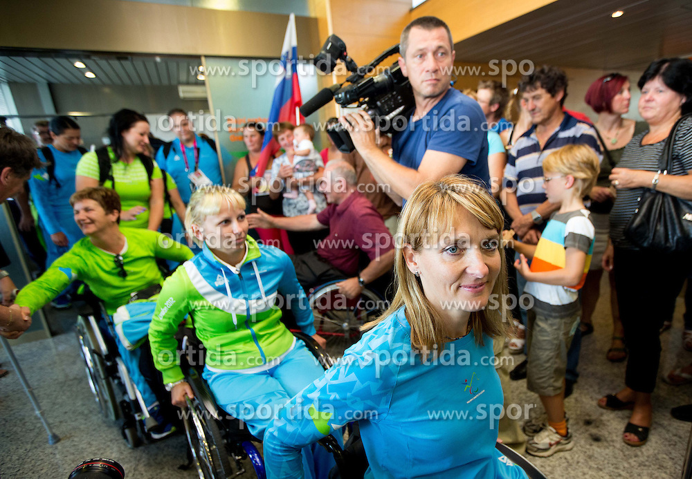 Mateja Pintar and Andreja Dolinar of Team Slovenia at arrival to Airport Joze Pucnik after the London 2012 Paralympic Games on September 10, 2012, in Brnik, Slovenia. (Photo by Vid Ponikvar / Sportida.com)