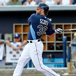 March 21, 2012; Port Charlotte, FL, USA; Tampa Bay Rays left fielder Luke Scott (30) against the New York Yankees during a spring training game at Charlotte Sports Park.  Mandatory Credit: Derick E. Hingle-US PRESSWIRE