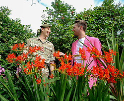 Pictured: Commander 51 Brigade Brigadier Robin Lindsay met up with performer Nick Alban, from show the Happiness Prohect.<br /> <br /> The Army at the Fringe venue opened it's doors today, with five shows on. <br /> <br /> © Dave Johnston / EEm