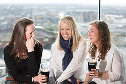 Repro Free: 15/03/2014 <br /> Katie Harling, Jennifer Stott and Nenna Delgaty pictured at the Guinness Storehouse St. Patrick&rsquo;s Festival. The four day festival is showcasing some of Ireland&rsquo;s best music, food and rugby over the weekend including and the ultimate rugby hub with a live broadcast by Newstalk Off The Ball. Enjoy GUINNESS sensibly. Visit drinkaware.ie Picture Andres Poveda