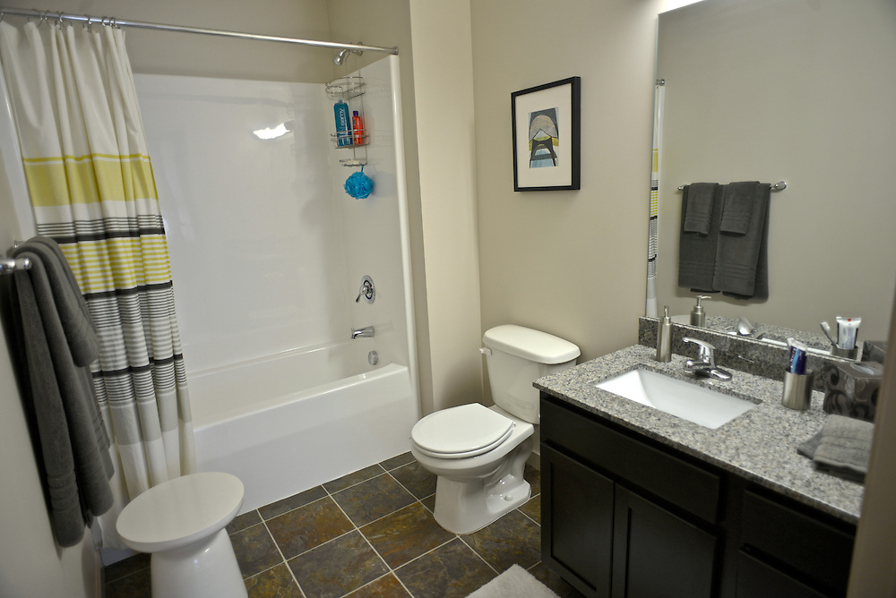 Bathroom of a model apartment at the 401 Lofts apartments.