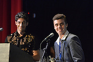 "Bellmore, New York, USA. July 21, 2016. L-R, Co-Producers Robbie Rosen, 22, and teenager James Phillips accept trophy for winning Music Video ""Chains"" at the19th Annual Long Island International Film Expo Awards Ceremony, LIIFE 2016, held at the historic Bellmore Movies. James Phillips was also Director, and Robbie Rosen sang the duet with Sarah Barrios. LIIFE was called one of the 25 Coolest Film Festivals in the World by MovieMaker Magazine."