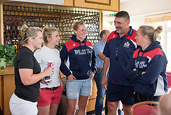 Bristol Ladies head coach Kris de Scossa chats with rugby internationals Marlie Packer, Elinor Snowsill, Amber Reed and Izzy Noel-Smith - Mandatory by-line: Paul Knight/JMP - 29/07/2017 - RUGBY - Bristol Ladies Rugby pre-season training